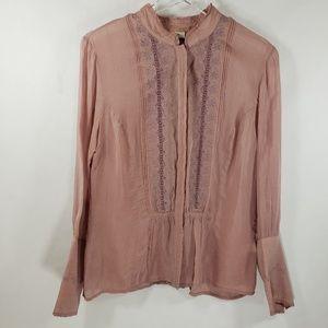J. Jill Button Down Pink Embroidered Shirt Sz S